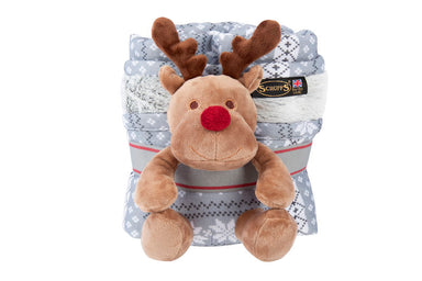 Scruffs Santa Paws Blanket & Reindeer Gift Set in Grey