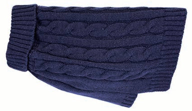 Buster & Beau Cable Knit Dog Jumper in Deep Blue