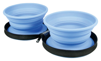 Travel dog double water bowl - Blue - Kiwi Walker