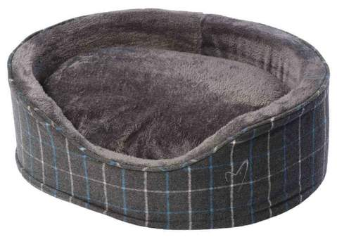 Oval Cushioned Dog Bed - Grey Check