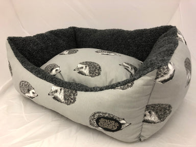 Grey Hedgehog Design Deluxe Rectangular Dog Box Bed