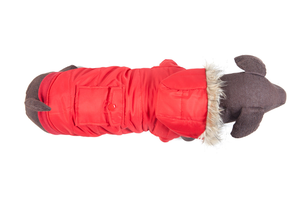 Red Parka with Pocket