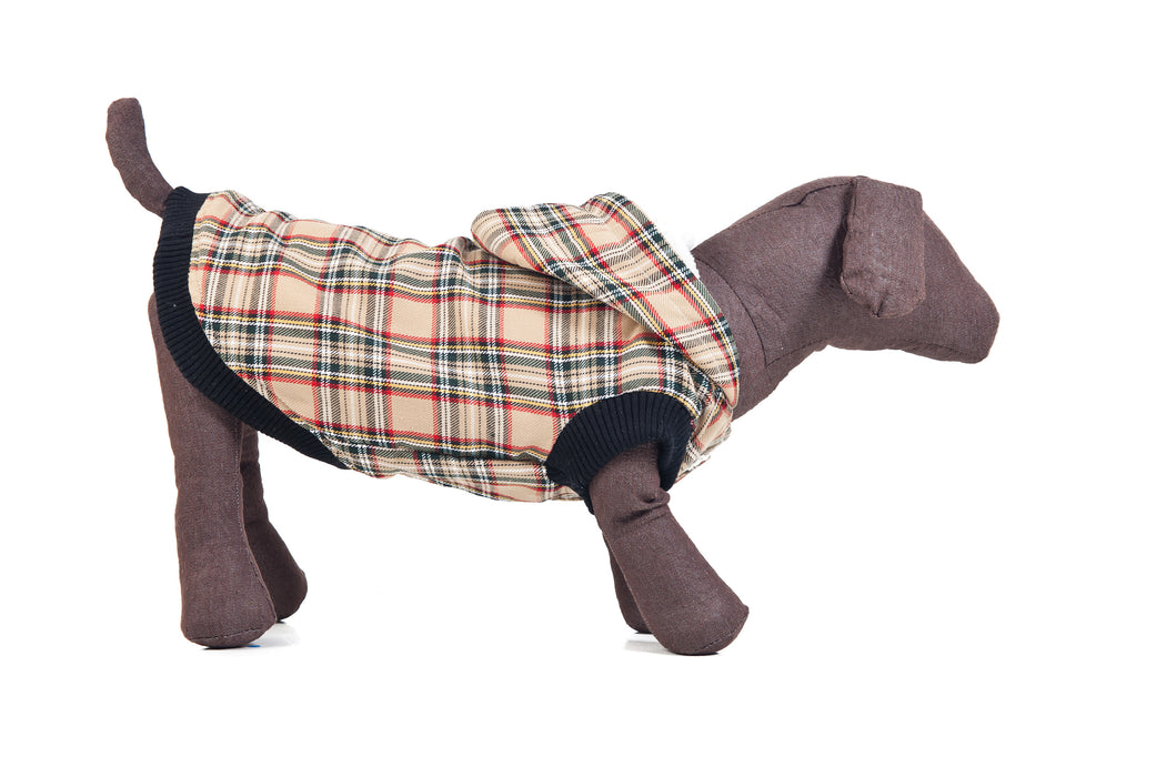 Check Fleece Dog Coat