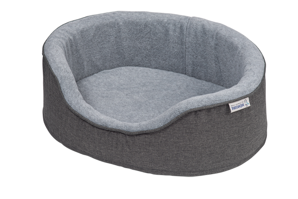 Memory Foam Oval Dog Bed - Grey (removable covers)
