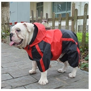 Waterproof Trouser Suit Dog Coat for Bulldogs in Red