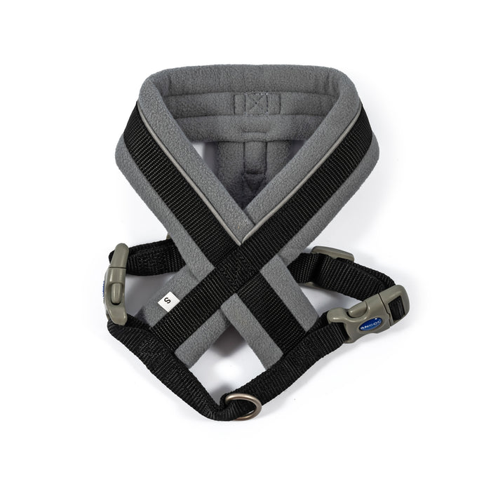 Padded Harness for Dogs in Black & Grey
