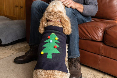 Dog Christmas Jumper with Pom Pom Tree