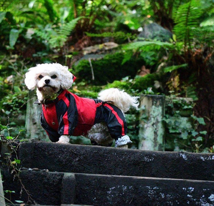 Waterproof Trouser Suit Dog Rain Coat in Red Black