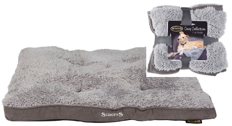 Scruffs Cosy Dog Mattress Bed & Blanket Bundle in Grey