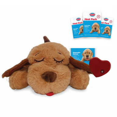 Snuggle Puppy Bundle - Soft Biscuit Dog + 3 Heatpacks