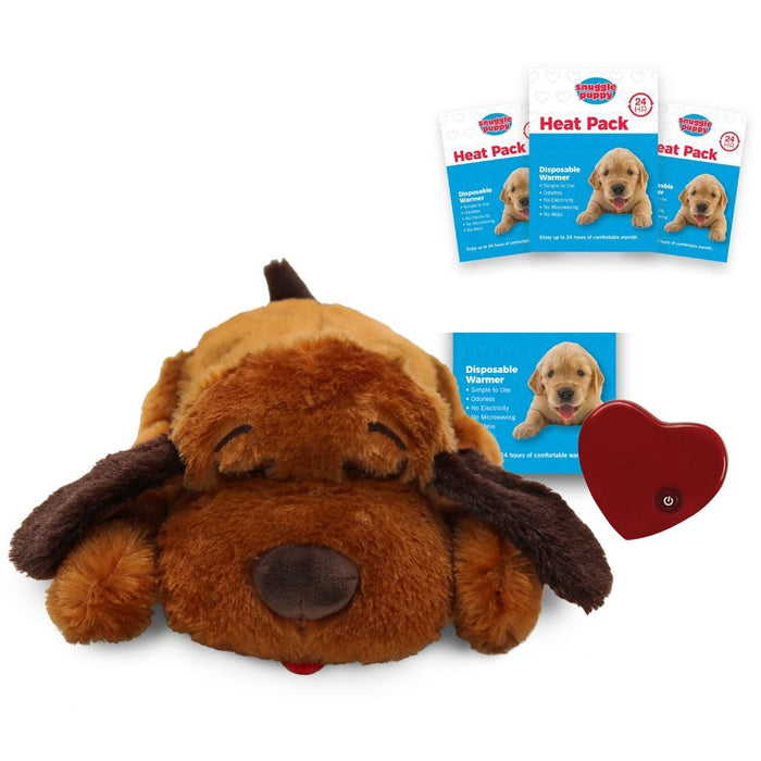 Snuggle Puppy Bundle - Soft Brown Dog + 3 Heatpacks