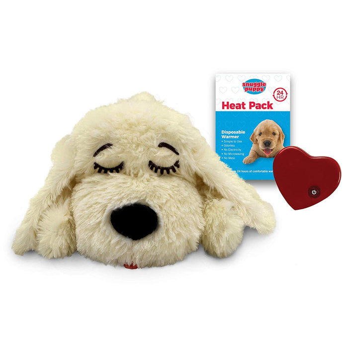 Snuggle Puppy Dog Comforter w/ Heartbeat in Soft Cream