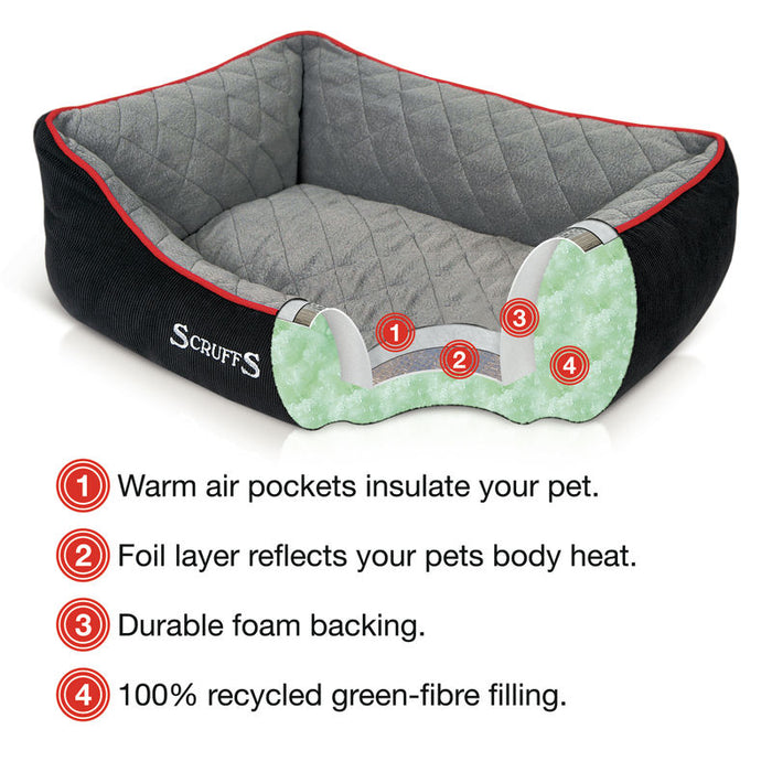 Thermal Self Heating Dog Bed in Black