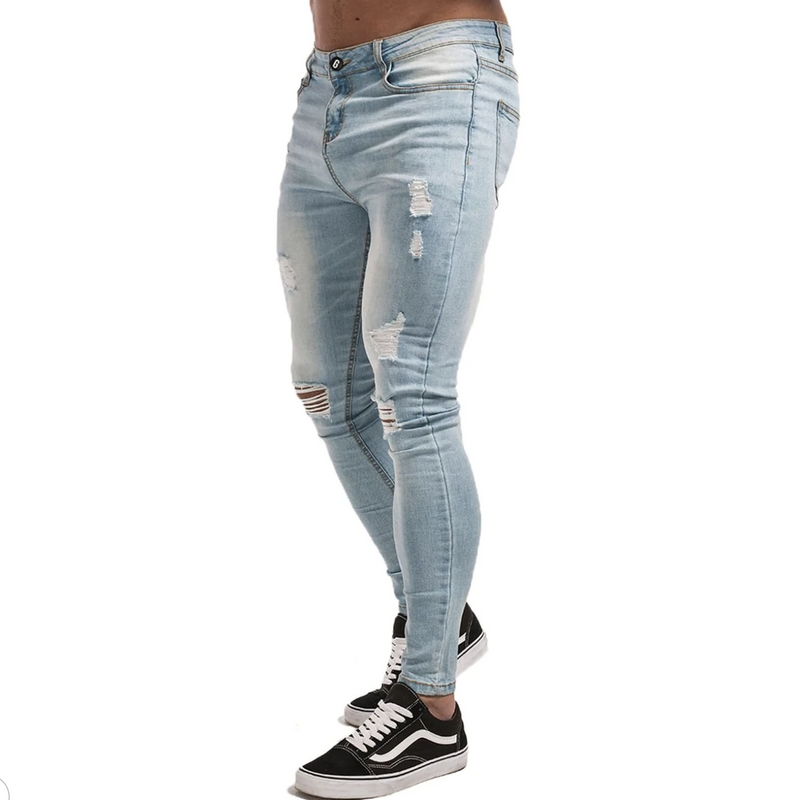 BLUE MUSCLE FIT JEANS - RIPPED & REPAIRED