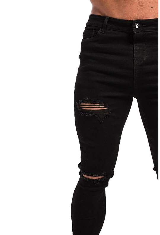 BLACK MUSCLE FIT JEANS - RIPPED & REPAIRED