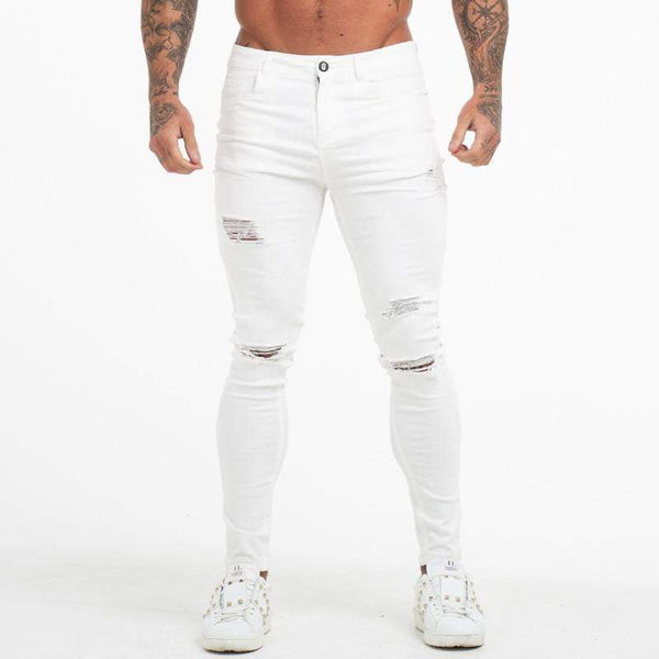 DIAMOND WHITE MUSCLE FIT JEANS - RIPPED & REPAIRED
