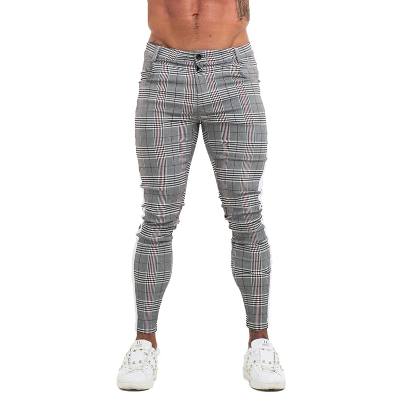 STRIPED PLAID MUSCLE FIT CHINOS
