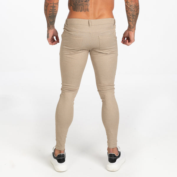 Plaid Beige Muscle Fit Chinos