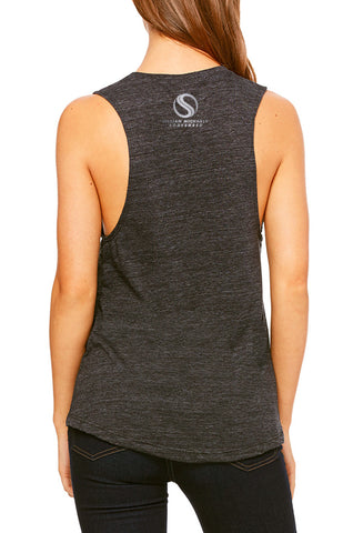 Shredded BODYSHRED Flowy Scoop Muscle Tee— Dark Heather Grey