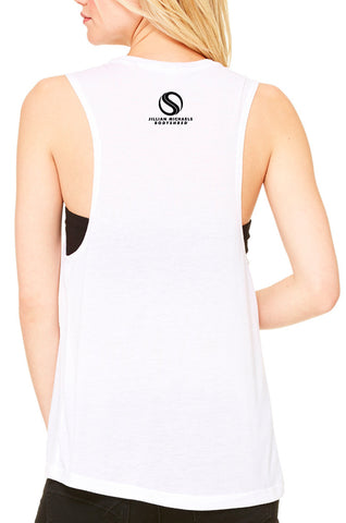 BODYSHRED Ignite Flowy Scoop Muscle Tee— White