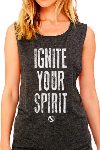 BODYSHRED Ignite Flowy Scoop Muscle Tee— Dark Heather Grey