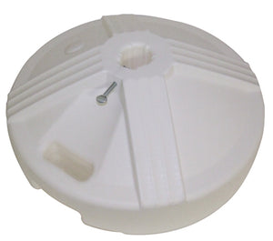 "50 lb. 18"" Diameter Plastic Covered/Cement Base. Available in: Black, White, Platinum, and Sand"