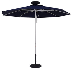 (7 1/2 - 9 Foot) The Solar Powered LED Lighted Umbrella includes a pulley mechanism and a solar light kit. this item has a 1/8″ thick center pole measuring 1 1/2″ in diameter, 1/8″ thick square aluminum ribs, plus 8 panels and ribs.