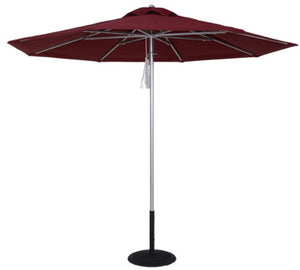 (11 Foot) With a self repairable frame plus 8 panels and ribs, this eye-catching umbrella includes a double pulley lift, a self-repairable frame, a 1/8″ thick center pole measuring 1 1/2″ in diameter, and 1/8″ thick square aluminum ribs.