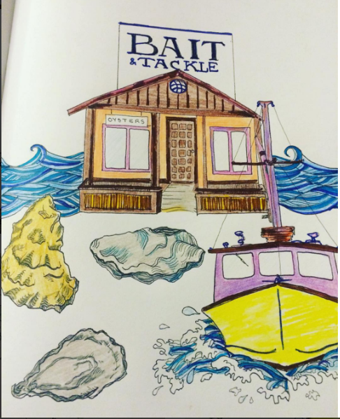 North Fork Coloring Book by Kara Hoblin (Signed!) - LITTLE CREEK OYSTER FARM & MARKET