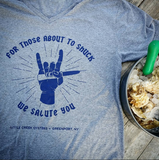 "'Shuck Rock' T-Shirt: ""For those about to shuck..."" - LITTLE CREEK OYSTER FARM & MARKET"