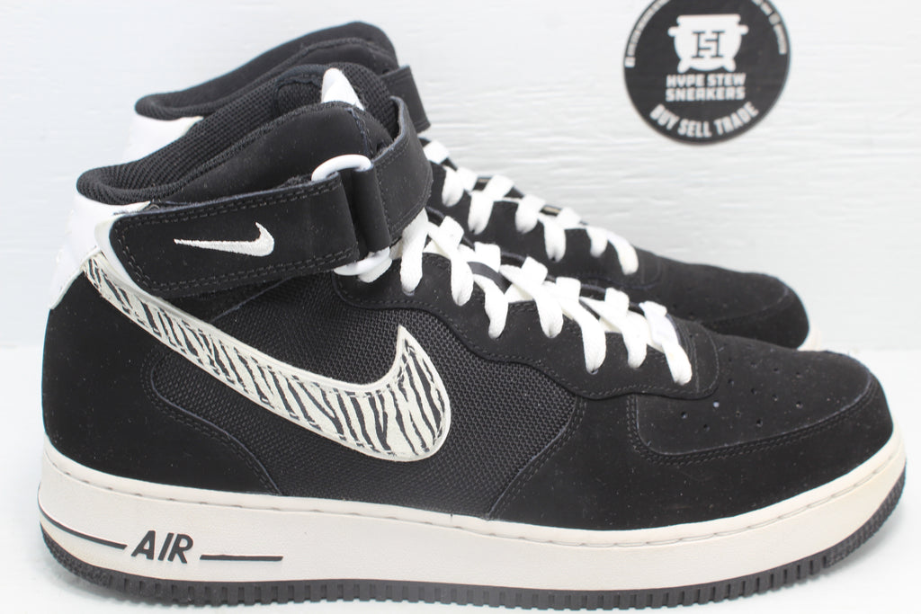 Nike Air Force 1 Mid '07 Zebra Pack (Black) - Hype Stew Sneakers Detroit