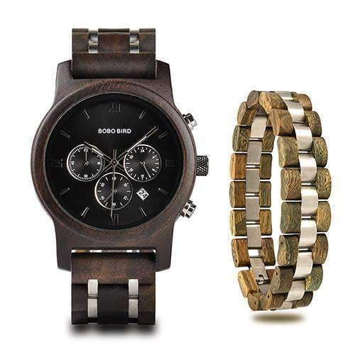 Bobo Bird P19 Military Wood Watch & Bracelets