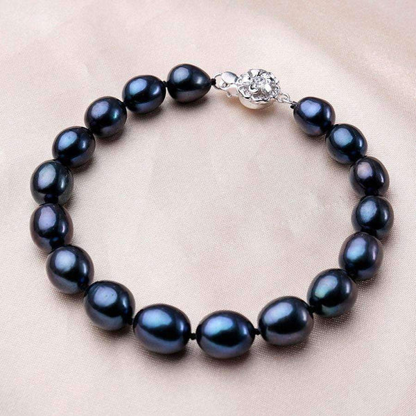 Beaded Bracelets Bracelet with Natural Black Pearls