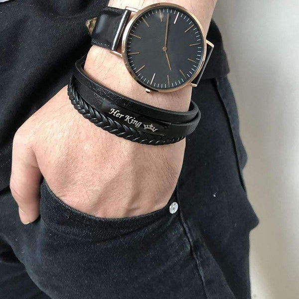Leather Bracelets Bracelets for Couples King & Queen