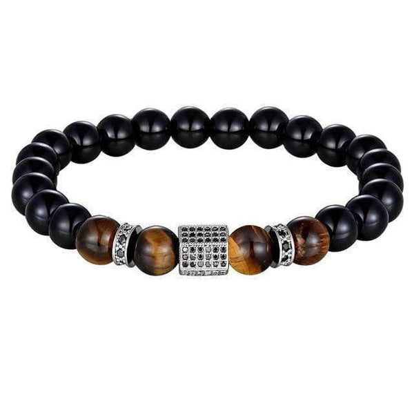 Beaded Bracelets Bracelets with Onyx Stone and Tiger Eye