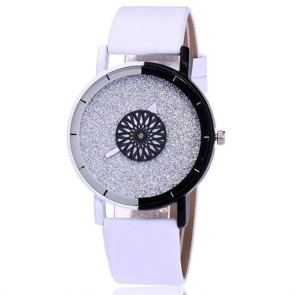 Colorful and Shiny Fashion Watch with Leather Strap