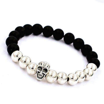 Elastic Beaded Bracelet with Skull