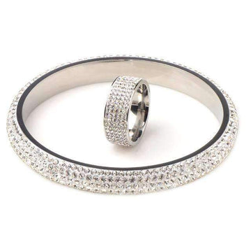 Fashion Jewelry Sets Crystal Stainless Steel Bangle & Ring