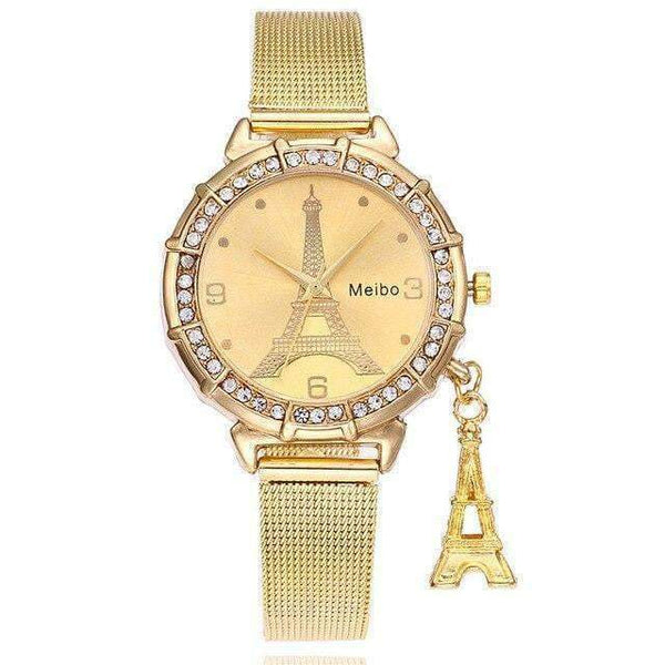 Fashion Watches with Eiffel Tower Pendant & Stainless Steel Wrist