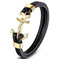 Leather Bracelets Multilayer Genuine Leather Bracelet with Anchor