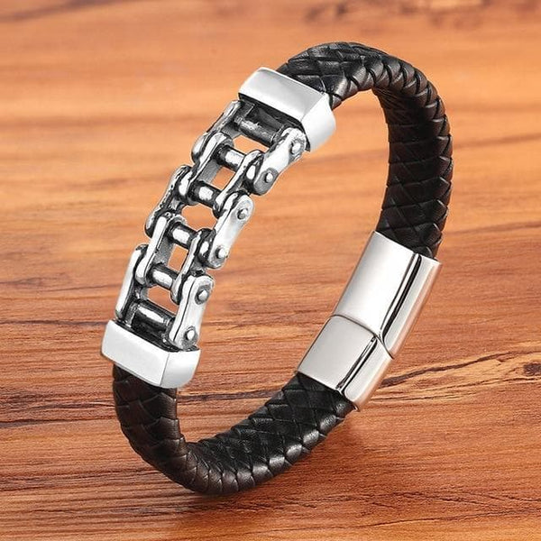 Leather Bracelets Bicycle Chain Stainless Steel Men's Leather Bracelet