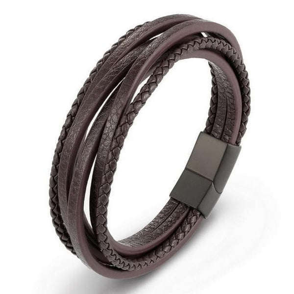 Fashion Stainless Steel Chain Genuine Leather Bracelet