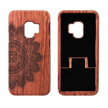 Wooden Phone Case for Samsung S9, S9 Plus with Flower