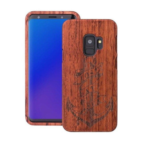 Wooden Phone Case for Samsung S9, S9 Plus with Anchor