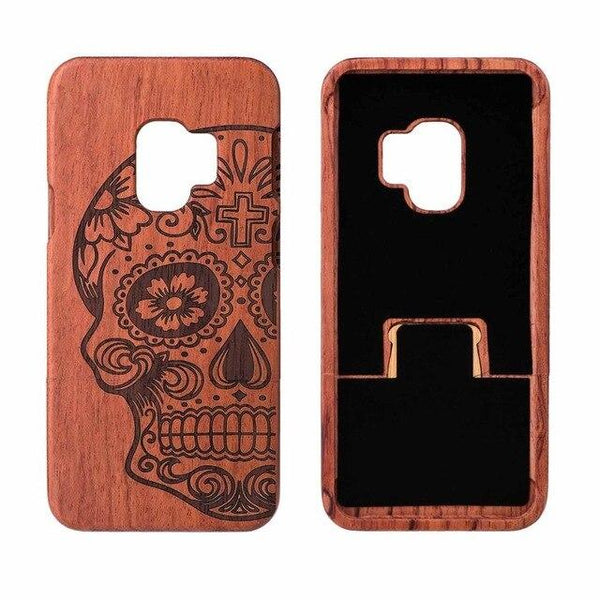 Wooden Phone Case for Samsung S9, S9 Plus with Skull