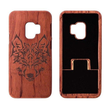 Wooden Phone Case for Samsung S9, S9 Plus with Wolf