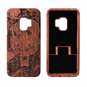 Wooden Phone Case for Samsung S9, S9 Plus with Dragon