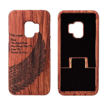 Wooden Phone Case for Samsung S9, S9 Plus with Angel Wing