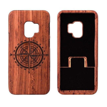 Wooden Phone Case for Samsung S9, S9 Plus with Compass