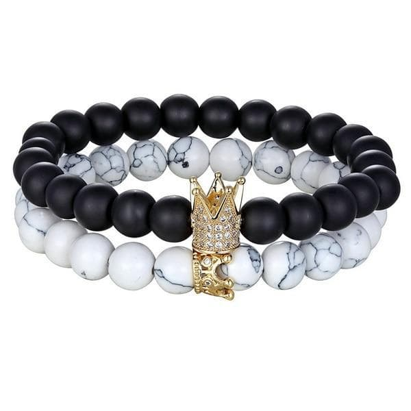 2pcs/set King Crown Natural Stone Beaded Bracelet